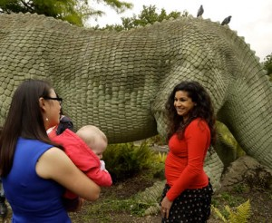 Xioya Ma and Anjali Goswami, plus three dinosaurs. Only two of which are scientifically accurate. Photo Credit: Victoria Herridge.