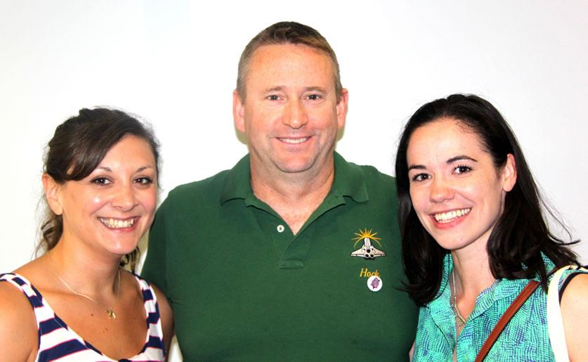 Astronaut Ken Ham with ScienceGrrls Anna Zecharia and Ellie Cosgrave