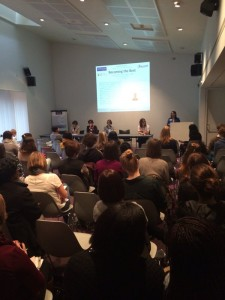 """International Women's Day event """"Being the Best"""" at University of Manchester, as tweeted by @fionacoll. Dr Heather Williams is seated next to the podium."""