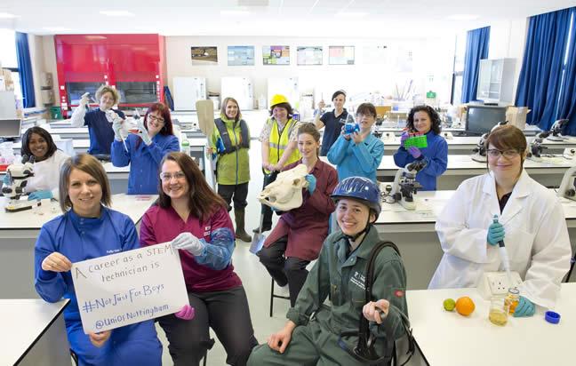Science technicians #NotJustForBoys (Image credit Lisa Gilligan-Lee, University of Nottingham)