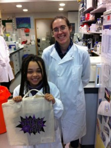 Aimee with a ScienceGrrl bag