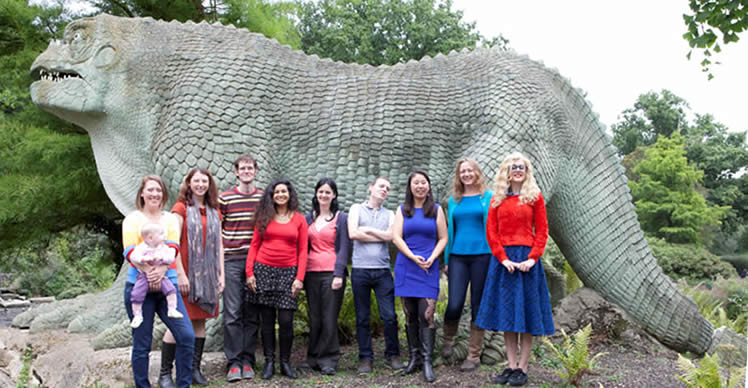 Palaeontologists assemble on Dinosaur Island. Left to right: Susannah Maidment (Imperial College London), with Amber; Fiona Gill (U. Leeds); Liam Herringshaw (U. Durham); Anjali Goswami (UCL); Lucy McCobb (National Museum of Wales); Xioya Ma (Natural History Museum, London); Victoria Herridge (TrowelBlazers) and Catherine Bennett. Photo credit: Daniella Cesarei