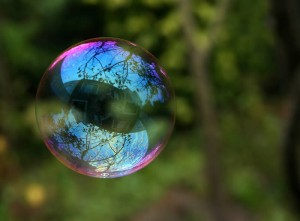 Reflection in a soap bubble